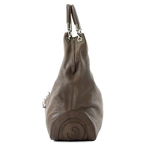 modamoda de - ital. Ledertasche Handtasche Damentasche Schultertasche Nappaleder 330NL Dunkeltaupe / Nappaleder