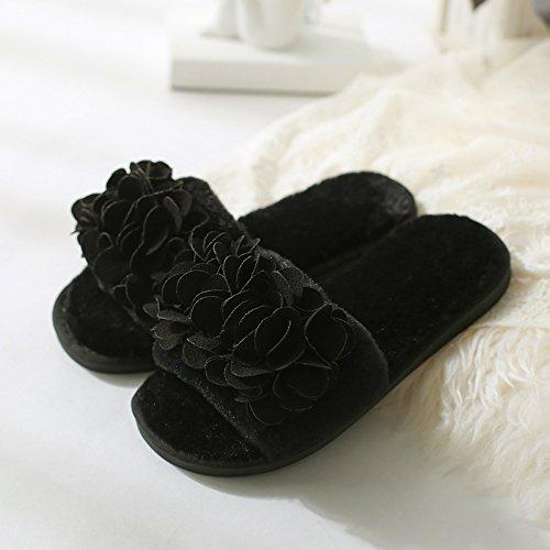 Zapatillas Doghaccd, Zapatillas De Felpa De Otoño, Estancia En Tu Sala De Estar Gruesa Antideslizante Más Lindas Pantuflas De Algodón De Color Negro Black2