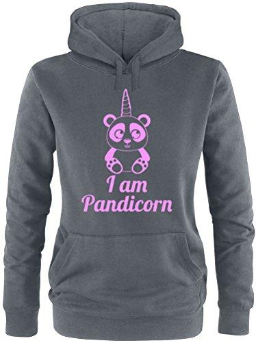 EZYshirt® Pandicorn Damen Hoodie Anthrazit/Rosa