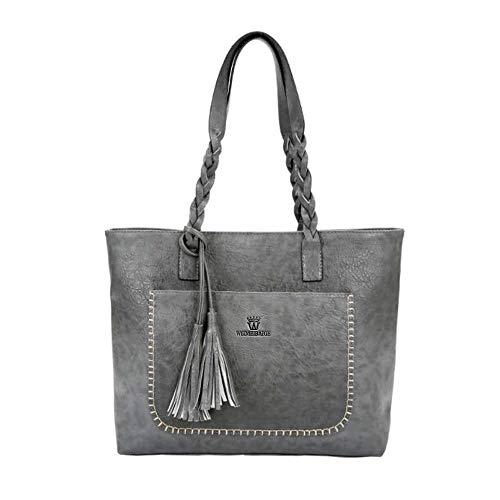TianWlio Frauen Handtasche Damen Umhängetasche Taschen Leder Quasten Handtasche Schultertasche Messenger Bag Grau