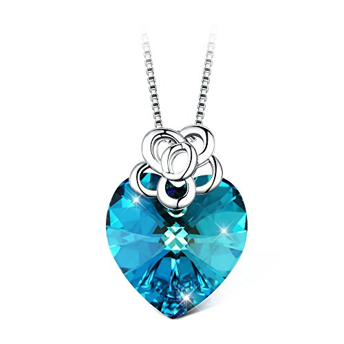 T400 Jewelers 'Flower Heart' Collana Love Heart Pendant Necklace with Swarovski Crystals Gioielli di moda per le do