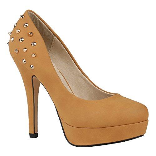 Sexy Damen Plateau Pumps Nieten High Heels Party Schuhe Gr. 36-41 150540 Hellbraun Nieten 40 Flandell Heel Sexy Pumps