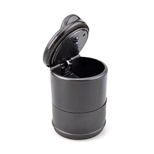 vorcool support auto voiture voyage cigarette fum e cendrier avec lumi re led bleu noir. Black Bedroom Furniture Sets. Home Design Ideas