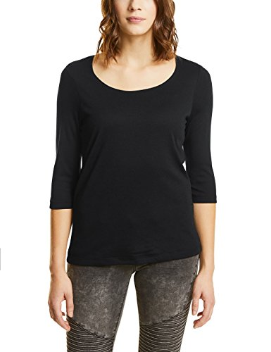 Street One Damen T-Shirt 311693 Pania, Schwarz (Black 10001), 44 -