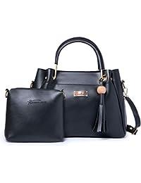 JFC Women's PU Shining Star Handbag and Shoulder Bag with Sling Combo (Beige)