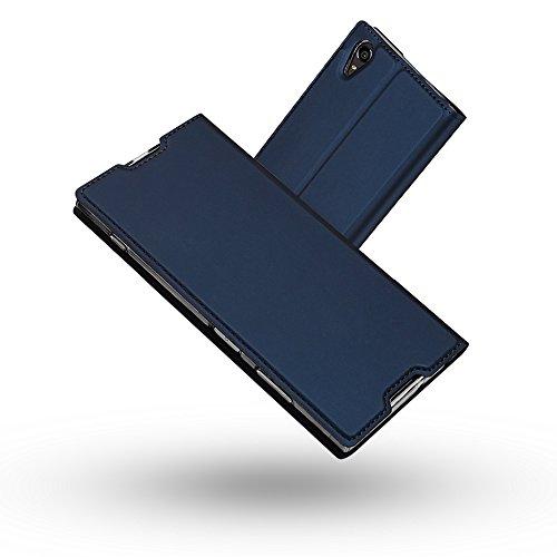 Radoo Sony Xperia XA1 Plus Hülle, Premium PU Leder Handyhülle Brieftasche-Stil Magnetisch Folio Flip Klapphülle Etui Brieftasche Hülle Schutzhülle Tasche Case Cover für Sony Xperia XA1 Plus (Blau)