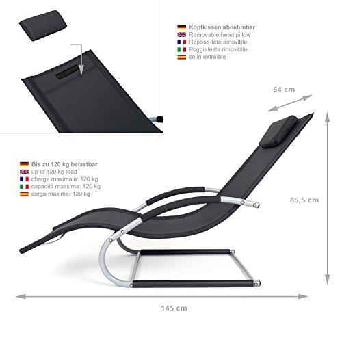 Outdoor Schwingstuhl Miami mit Armlehnen | Sonnenliege ergonomisch geschwungen | Freischwinger schwarz/grau | Gartenmöbel aus Alu und Textilene wetterfest - 3