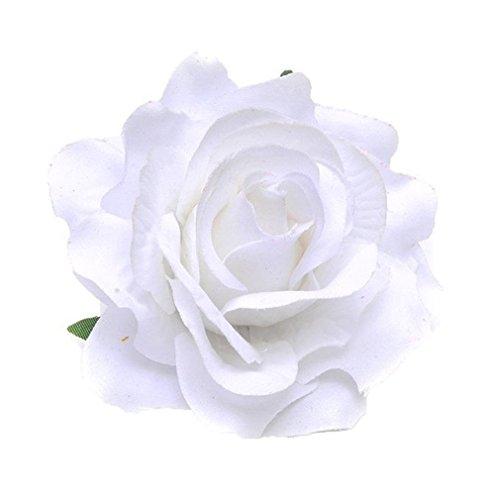 men Accessoires Haarblumen Haarblüte Haarspange Haarschmuck Rose Broschen Ansteckblume viele Farben (Weiß) (Ansteckblume Hochzeit)