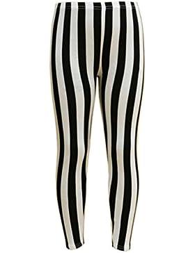 Leggings da ragazza nero & bianco a righe