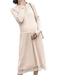 Zhhlaixing Señoras Maternidad Vestido Midi - Elegante Suelto Cordón Embarazada Vestido de Suéter Calentar ...