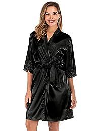 ABirdon Bata Kimono para Mujer,Corto Adorno de Encaje Ropa de Dormir de Albornoz de