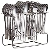 NAOE™ Losange Pack Of-24 The Great Gifting Option For This Festivals(6 Tea Spoons,6 Dinner Spoons,6 Baby Spoons 6 Forks And 1 Stand) Cutlery Set From Cork,in Stainless Steel(Silver Colour)