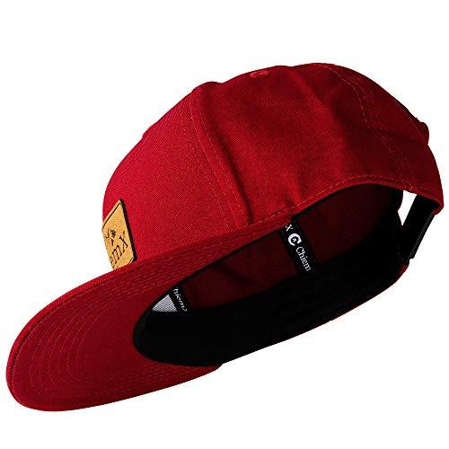 ChiemX Snapback Cap - Weinrot/Rot/Dunkelrot/Bordeauxrot - aus Baumwolle und mit Kunstlederpatch - One Size Kappe für Herren und Damen