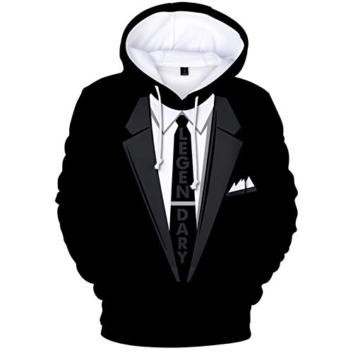 Spoof Suit 3D-Drucken Pullover Winter Hoodie Sweatshirt Hooded Wool Fleece Lightweight with Adjustable Hood Front Pockets for Mens Great for Walking Jogging Unisex,XXL Lightweight Hooded Pullover Sweatshirt