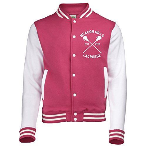 BEACON Hills Wolf Stilinski Teen Wolf Varsity Jacke Kinder Erwachsene Rosa - Hot Pink