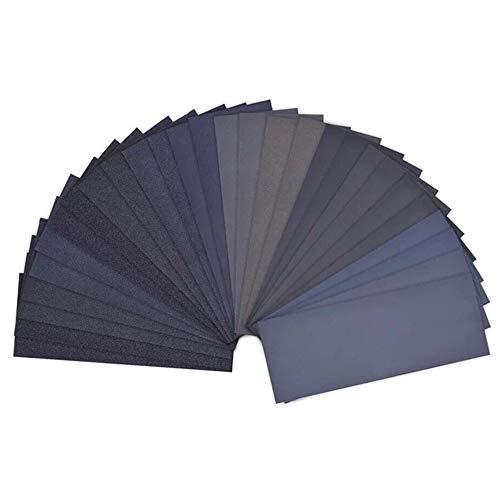 Schleifpapier Set, Trocken und Nasses Schleifpapier, von 120 bis 3000 Grit geeignet für Holzbearbeitung Holzdrehen Auto Stein Holzmöbel Glas Lack 42 Stück