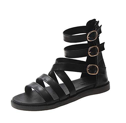 Jimmackey Sandali Donna Bassi Estate Romano Gladiator Vacanza Scarpe Cerniera Open Toe Caviglia Leggero Sandals