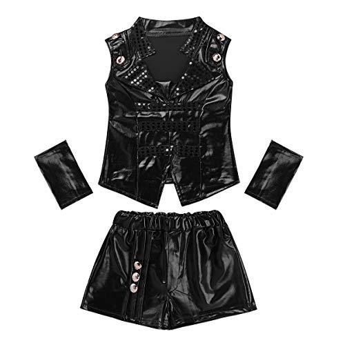 dPois Kinder Mädchen Jungen Glänzend Pailletten Hiphop Jazz Kleidung Outfit Tanzkostüm Tanzbekleidung Verkleidung Fasching Karneval Kostüm Schwarz 140-146/10-11Jahre