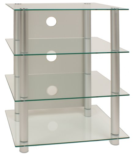 VCM Hifi-Möbel Rack Phonomöbel Regal Tisch Alu / Glas Klarglas
