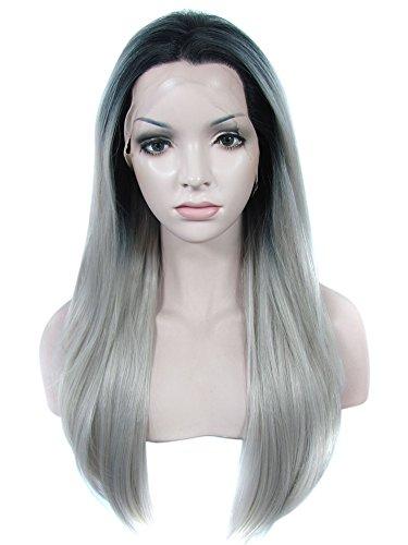 Preisvergleich Produktbild Imstyle Dark Ombre Gray Color Long Silky Straight Texture Cosplay Drag Queen Costumes Wig 24 inch