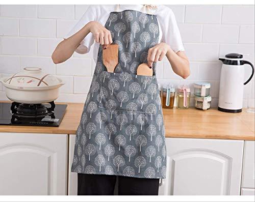 leihao888 Baumwolle Frauen Schürzen kreative gedruckte lustige Küchenschürze mit Tasche Handtuch heißen Haushaltsreinigungszubehör KochschürzeBaum-blau