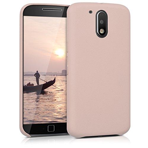 kwmobile Funda para Motorola Moto G4 / Moto G4 Plus - Case para móvil en cuero sintético - Carcasa trasera en rosa palo