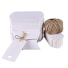 Idea Regalo - Gudotra 100pz Scatole Carta Kraft Bianca+30M Corda+100pz Bigliettini Scatoline Portaconfetti per Confetti Matrimonio Battesimo Compleanno Invito (6 * 9cm)