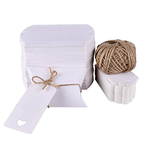 Gudotra 100pz Scatole Carta Kraft Bianca+30M Corda+100pz Bigliettini Scatoline Portaconfetti per Confetti Matrimonio Battesimo Compleanno Invito (6 * 9cm)