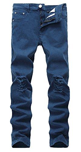 LILBETTER Herren Jeans Hose Denim Slim Fit Destroyed Zerrissen Verwaschen (Blau 30)