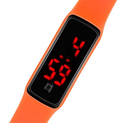 Taffstyle Unisex Armbanduhr Digitale Sportuhr Silikonuhr mit LED Damen Herren Digital Sport Silikon Uhr Orange