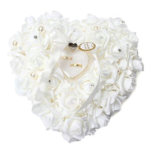 Yosoo 15x13cm Bianco Romantico Matrimonio Anello Rosa Scatola Cuore rosa Bomboniere Anello nuziale Cuscino con elegante cassa gioielli Floral Accessori da sposa