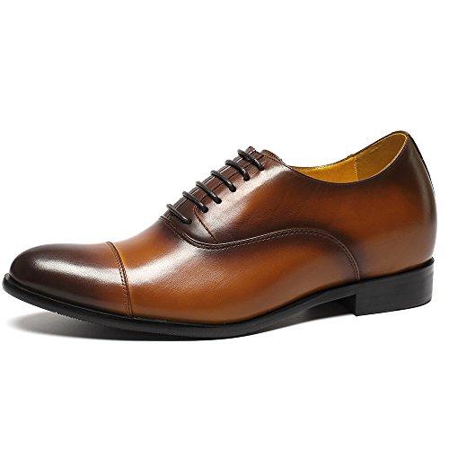 Chamaripa scarpe con rialzo da uomo che aumentano l¡¯altezza pelle derby oxford marrone/nero?fino a 7 cm- x92h38