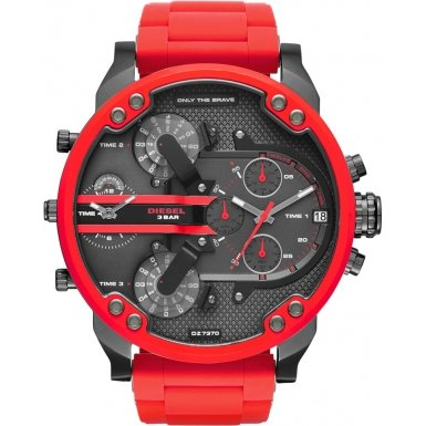 Diesel Men's Quartz Watch with Black Dial Analogue Display and Red Silicone Bracelet DZ7370
