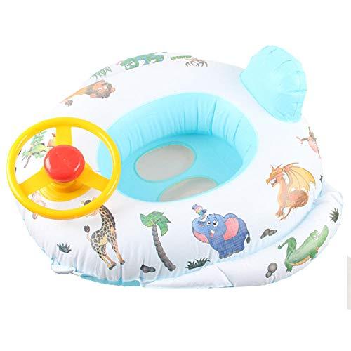 YHYZ Schwimmringe Kinder aufblasbare Verdickung Lenkrad Glocke Boot Sitzring Jungen Mädchen Schwimmbad Strand Wasserspielzeug, blau