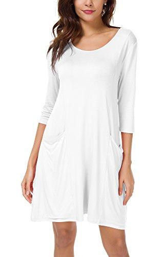 Damen 3/4 Ärmeln T-Shirt Kleid Lose Taschen Stretch Basic Kleider Weiß