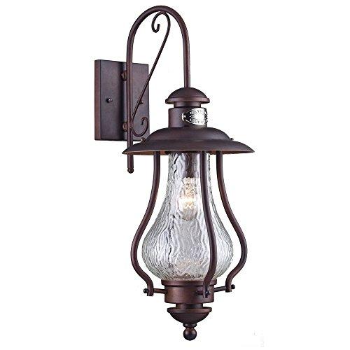 Applique murale exterieur, lanterne, style rustique, vintage,antique, armature en Metal couleur marron, plafonnier en verre, pour maison, escalier, terrasse 1 ampoule E27 60 W IP44 220V