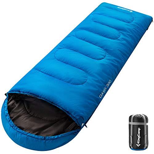 KingCamp Oasis Saco de Dormir de 3 Estaciones 4 Tamaños Disponibles (Niño, Adulto, Extragrande y Doble Extragrande) en 6 Colores (Adulto 220 x 75cm 4 Temporada, Azul L)