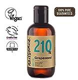 Naissance Aceite Vegetal de Semillas de Uva n. º 210 – 100ml - Puro, natural, vegano y no OGM - Hidratante natural para el cabello y la piel.