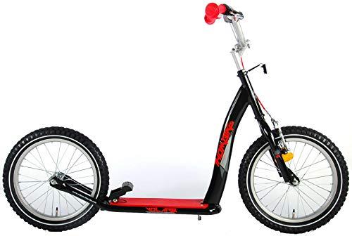 Volare Kinderroller 16 Zoll schwarz-rot Tretroller mit Felgen- und Fußbremse