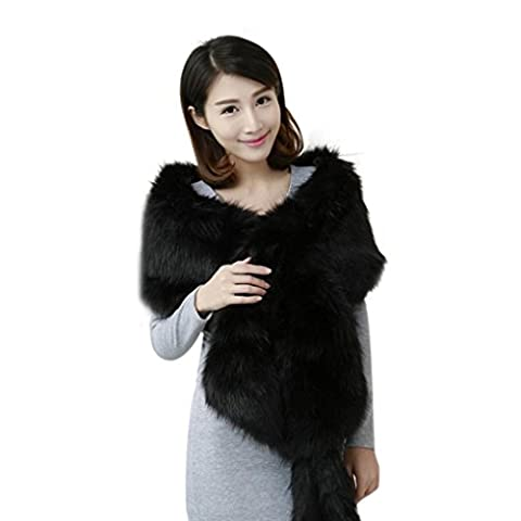 Covermason Vogue Women Winter Warm Long Faux Fur Shawl Thick Tallit Cape Scarf (Black)
