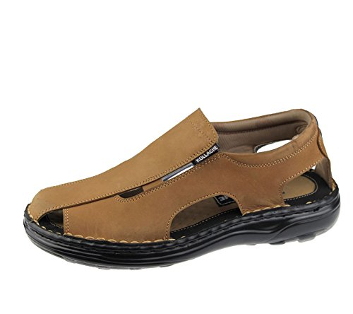 Homme Slip on Sandales décontracté de plage tendance décontracté Marche Chausson Chaussures en cuir Camel