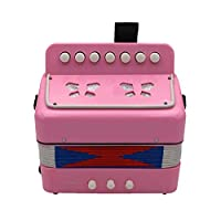 7 Keys 2 Bass Accordion Kids Accordion Toy Solo Ensemble Instrument Musical Educational Instrument for Early Childhood Teaching Pink