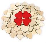 Absofine 134 Stück Herz Holz Scheiben Enthalten 40mm 60mm und 60mm Rote Scheiben für Hochzeit DIY Handwerk Verzierungen Naturholzscheiben