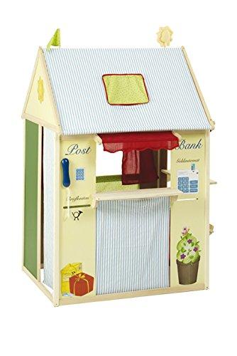 *roba Spielhaus-Kombination, Rollenspiel Haus für Kinder, verwendbar als Kaufladen, Kasperletheater, Tafel, Schalter für Post/Bank/Kiosk*
