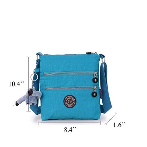 Honeymall borse a spalla borsa a tracolla muliti tasche borsetta le donne casuale multi tasca Borsa a tracolla impermeabile Viola Cielo blu