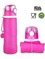 [FDA Certificado] ieGeek plegable botella de agua botella - Key2Life - Silicona - para exterior, deportes, fitness, Viajes, Ciclismo, Senderismo, camping y Picnic, rojo