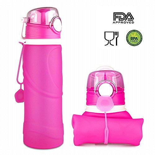 ieGeek Botella Plegable de Silicona de Alimentos para Deporte para Aire Libre, Rosa