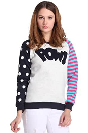 Romwe Women's Casual Style Color Block Long Sleeves Polyester Sweatshirt-White-One Size