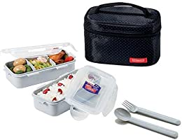 Lock and Lock HPL752DB PP Lunch Box, 4-Piece - Black