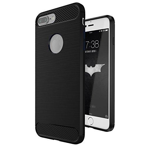 Coque-iPhone-7-Plus-ivencase-Luxe-Silicone-Coque-Ultra-Fine-en-Gel-Flex-TPU-Premium-Flexible-et-Souple-Etui-Housse-pour-iPhone-7-Plus-55-Noir